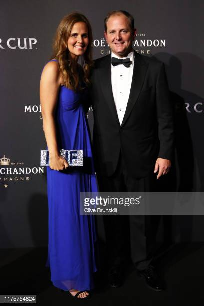 Tony Godsick, agent of Roger Federer and President and CEO of TEAM8 and Chairman of the Laver Cup and his wife Mary Joe Fernandez, pose for a photo...