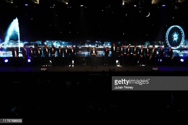 Tony Godsick, agent of Roger Federer and President and CEO of TEAM8 and Chairman of the Laver Cup speaks as Team Europe and Team World stand on the...