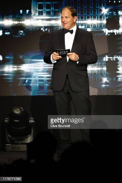 Tony Godsick, agent of Roger Federer and President and CEO of TEAM8 and Chairman of the Laver Cup speaks on stage during the Laver Cup Gala at HEAD...