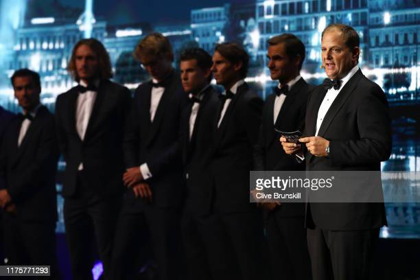 Tony Godsick , agent of Roger Federer and President and CEO of TEAM8 and Chairman of the Laver Cup speaks on stage during the Laver Cup Gala at HEAD...
