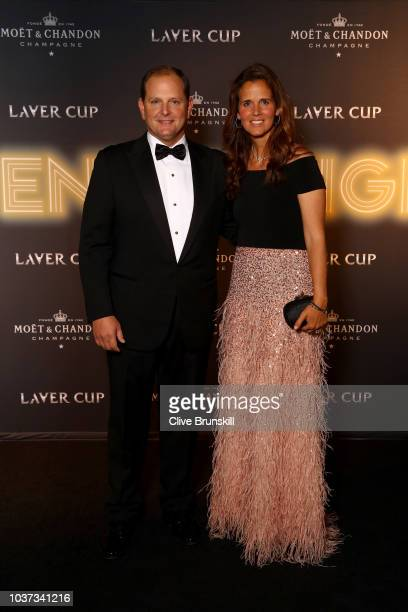 Tony Godsick and Mary Joe Fernandez arrive on the Balck Carpet during the Laver Cup Gala at the Navy Pier Ballroom on September 20, 2018 in Chicago,...