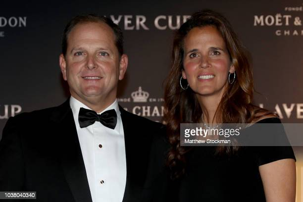 Tony Godsick and Mary Joe Fernandez arrive on the Black Carpet during the Laver Cup Gala at the Navy Pier Ballroom on September 20, 2018 in Chicago,...