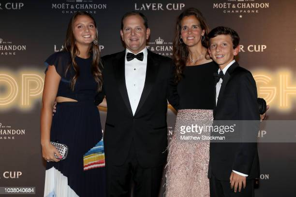 Tony Godsick and Mary Joe Fernandez arrive with their children Isabella Maria and Nicolas on the Black Carpet during the Laver Cup Gala at the Navy...