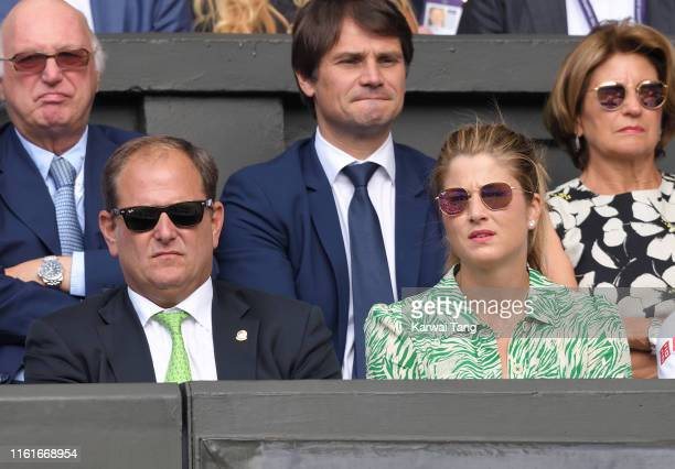 Tony Godsick and Mirka Federer attend day eleven of the Wimbledon Tennis Championships at All England Lawn Tennis and Croquet Club on July 12, 2019...