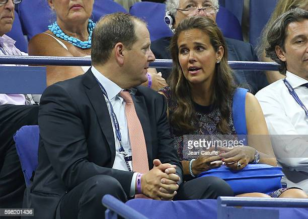 Tony Godsick and wife Mary Joe Fernandez attend day 3 of the 2016 US Open at USTA Billie Jean King National Tennis Center on August 31, 2016 in the...