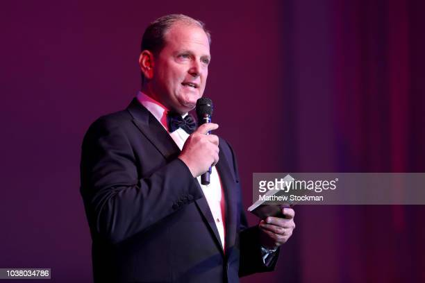 Tony Godsick, Chairman, Laver Cup addresses the audiance during the Laver Cup Gala at the Navy Pier Ballroom on September 20, 2018 in Chicago,...