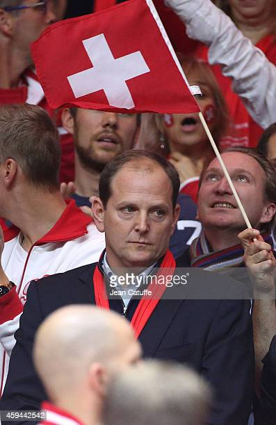 Tony Godsick, Federer's agent attends day two of the Davis Cup tennis final between France and Switzerland at the Grand Stade Pierre Mauroy on...