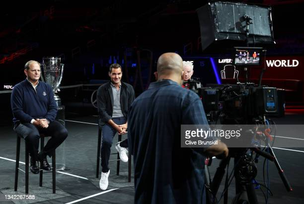 Tony Godsick Laver Cup Chairman and Roger Federer speak during a live TV interview on CNBC at TD Garden on September 24, 2021 in Boston,...