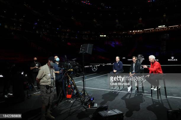 Tony Godsick Laver Cup Chairman, Roger Federer and John McEnroe Team World Captain speak during a live TV interview on CNBC at TD Garden on September...