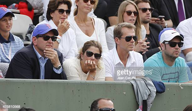 Tony Godsick, Mirka Federer, Stefan Edberg and Severin Luthi attend day 10 of the French Open 2015 at Roland Garros stadium on June 2, 2015 in Paris,...