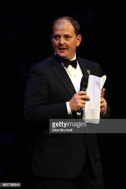 Tony Godsick speaks on stage at the Laver Cup Gala dinner ahead of the Laver Cup on September 21, 2017 in Prague, Czech Republic. The Laver Cup...