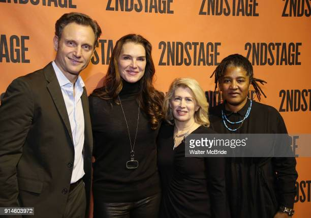 Tony Goldwyn Brooke Shields Carole Rothman and Lynne Nottage backstage at the Second Stage Theater Broadway lights up the Hayes Theatre at the Hayes...