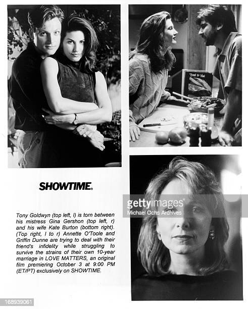 Tony Goldwyn, Gina Gershon, Annette O'Toole, Griffin Dunne and Kate Burton in various scenes from the tv movie 'Love Matters', 1993.