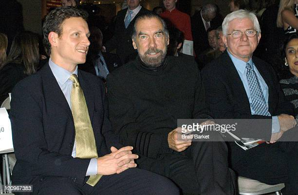 Tony Goldwyn John Paul and Phil Donahue during 2003 Creative Coaltion Spotlight Awards at Sotheby's in New York City New York United States