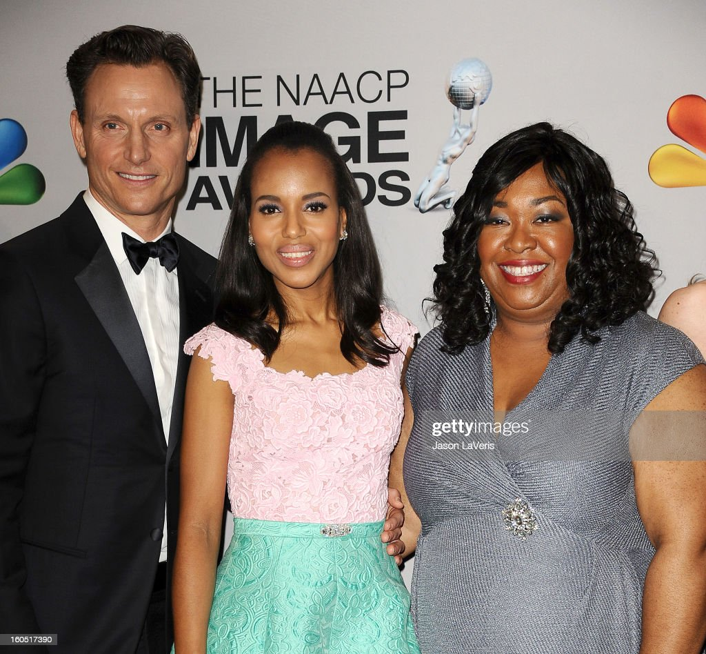 Tony Goldwyn, Kerry Washington and Shonda Rhimes pose in the press room at the 44th NAACP Image Awards at The Shrine Auditorium on February 1, 2013 in Los Angeles, California.