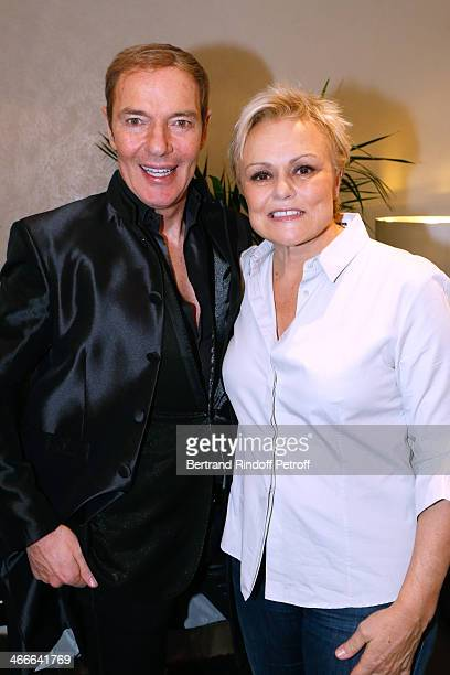 Tony Gomez and Muriel Robin pose after the 'Robin Revient Tsointsoin ' Muriel Robin final show at Palais des Sports on February 1 2014 in Paris France