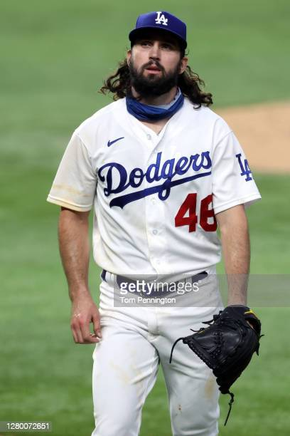 Tony Gonsolin of the Los Angeles Dodgers is taken out of the game during the fifth inning against the Atlanta Braves in Game Two of the National...