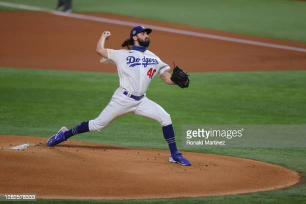 Tony Gonsolin of the Los Angeles Dodgers throws a pitch against the Tampa Bay Rays during the first inning in Game Six of the 2020 MLB World Series...