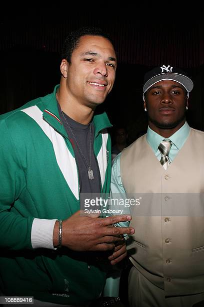 Tony Gonzales with Reggie Bush during FHM Party for the NFL Players Draft at Gypsy Tea in New York, NY, United States.