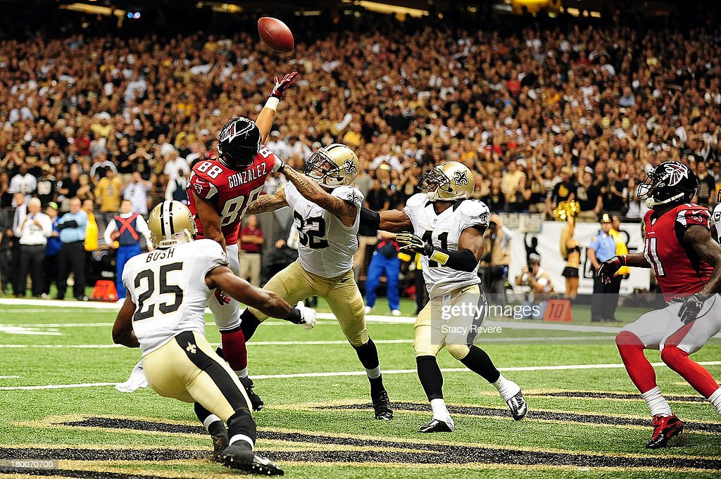 Tony Gonzalez #88 of the Atlanta Falcons is unable to catch a pass against the New Orleans Saints during a game at the Mercedes-Benz Superdome on September 8, 2013 in New Orleans, Louisiana. The Saints defeated the Atlanta Falcons 23-17.