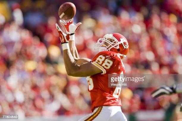 Tony Gonzalez of the Kansas City Chiefs catches a pass against the Green Bay Packers at Arrowhead Stadium on November 4 2007 in Kansas City Missouri...