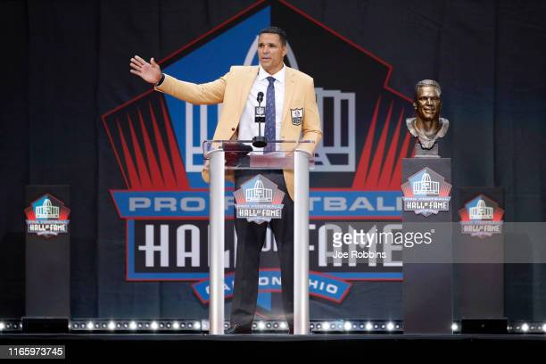 Tony Gonzalez speaks during his enshrinement into the Pro Football Hall of Fame at Tom Benson Hall Of Fame Stadium on August 3 2019 in Canton Ohio