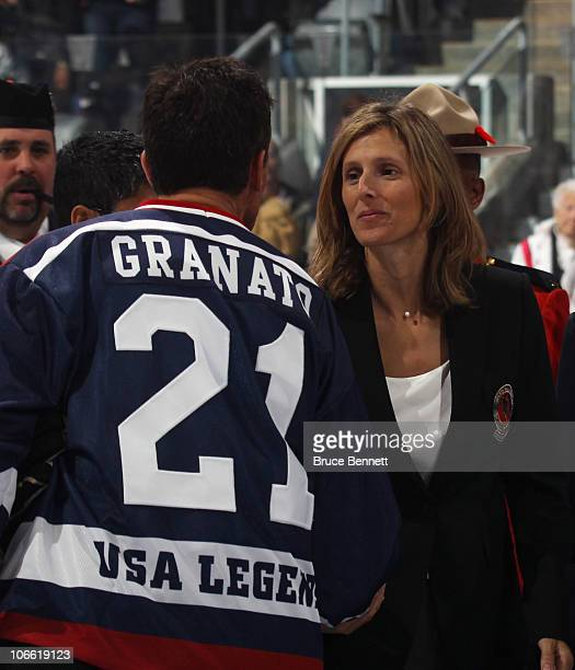 Tony Granato congratulates his sister Cammi at the Hockey Hall of Fame blazer ceremony prior to the Legends Classic Hockey Game at the Air Canada...