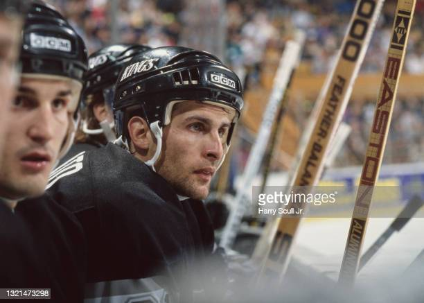Tony Granato, Right Wing for the Los Angeles Kings looks on from the bench during the NHL Prince of Wales Conference, Adams Division game against the...