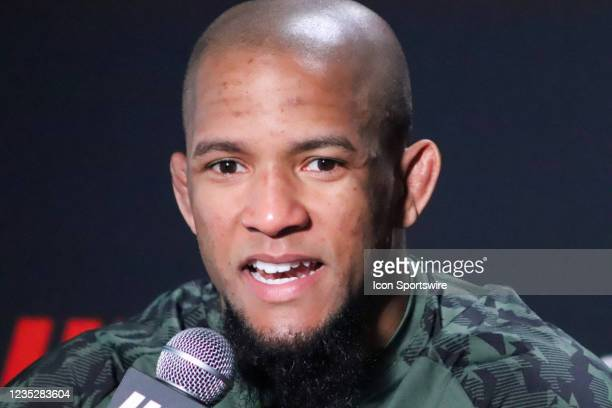 Tony Gravely interacts with media during the UFC Vegas 37 Media Day on September 15, 2021 at UFC Apex in Las Vegas, Nevada.