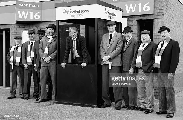 Tony Green Ian Penrose CEO of Sportech PLC Michael Thomas Jimmy Glass Alan Hansen Gary Pallister Gordon Banks Ian Callaghan and Roger Hunt pose for...
