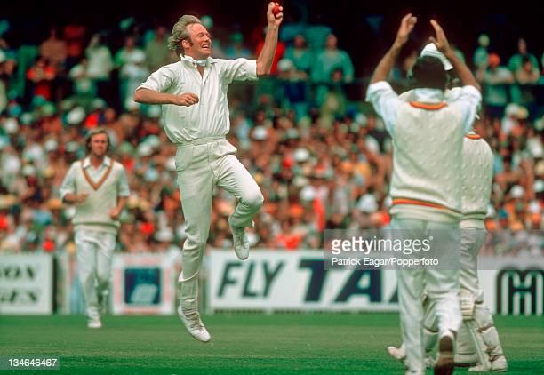 Tony Greig after dismissing Ian Davis , Australia v England, Centenary Test, Melbourne, Mar 1976-77.
