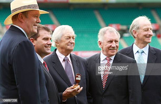Tony Greig Mark Taylor Richie Benaud Ian Chappell and Bill Lawry pose during the Channel Nine 2010/11 Ashes Series launch at the SCG on November 16...