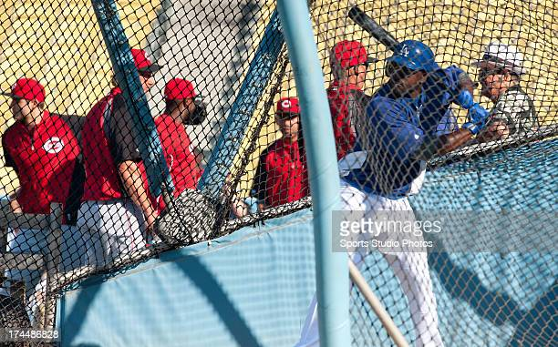 Tony Gwynn Jr #10 of the Los Angeles Dodgers during batting practice before a game against the Cincinnati Reds on July 2 2012 at Dodger Stadium in...