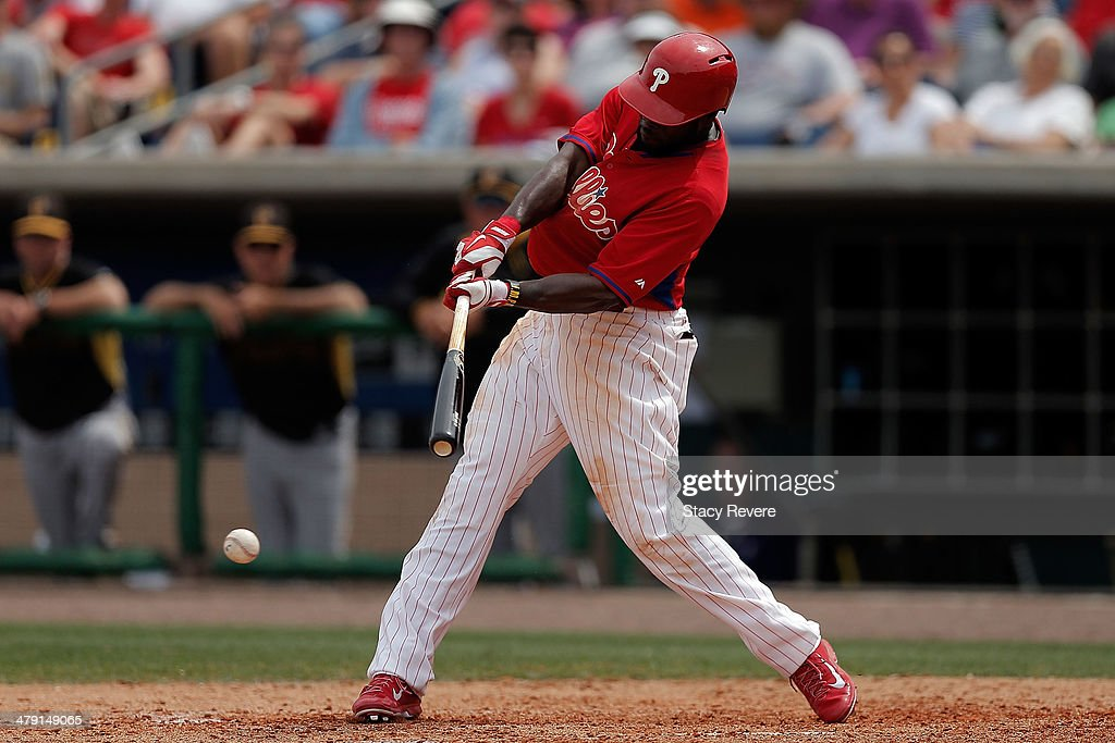 Tony Gwynn Jr. #19 of the Philadelphia Phillies swings at a pitch in the fifth inning of a game against the Pittsburgh Pirates at Bright House Field on March 16, 2014 in Clearwater, Florida.