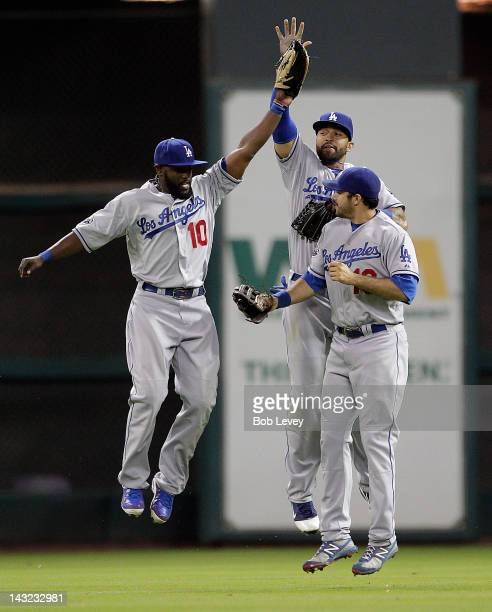 Tony Gwynn of the Los Angeles Dodgers high fives Matt Kemp and Andre Ethier after defeating the Houston Astros on April 21 2012 at Minute Maid Park...
