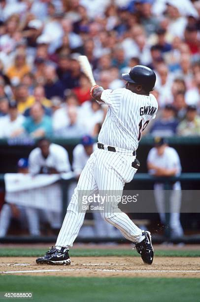Tony Gwynn of the San Diego Padres bat during the 69th MLB All-Star Game against the American League at Coors Field on Tuesday, July 7, 1998 in...