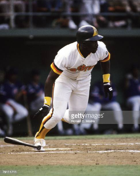 Tony Gwynn of the San Diego Padres batting during Game 4 of the 1984 National League Championship Series against the Chicago Cubs on October 6 1984...