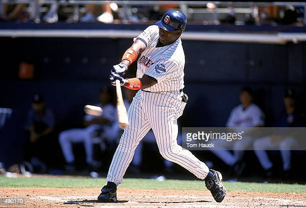 Tony Gwynn of the San Diego Padres hits the ball during the game against the Houston Astros at Qualcomm Stadium in San Diego California The Padres...