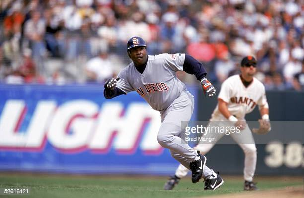 Tony Gwynn of the San Diego Padres runs towards second base during a season game at Pac Bell Park in San Francisco, California on April 2, 2001. Tony...