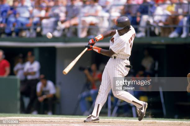 Tony Gwynn of the San Diego Padres swings at a pitch during a 1986 game at Jack Murphy Stadium in San Diego California