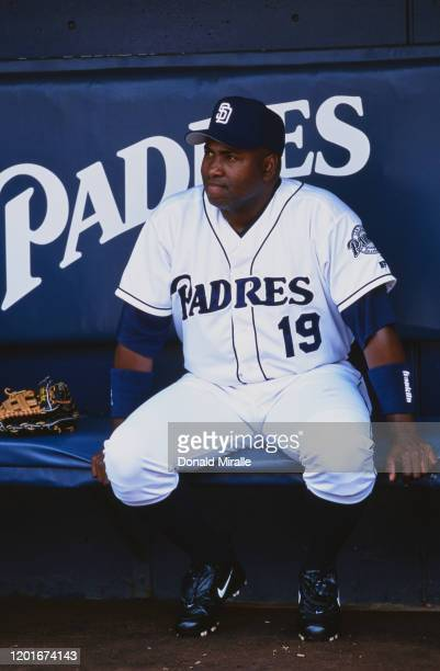 Tony Gwynn Outfielder of the San Diego Padres sits in the dugout during the Major League Baseball National League West game against the Colorado...