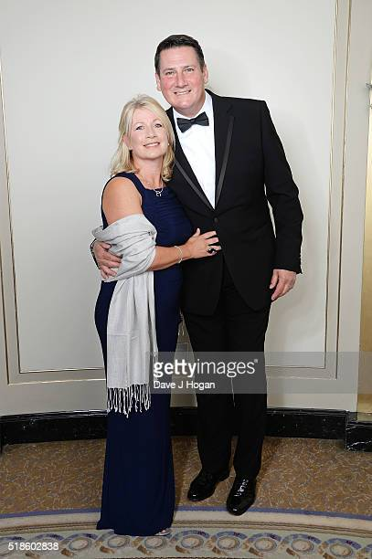 Tony Hadley and Alison Evers attend The Shooting Star Chase Ball at The Dorchester on October 3 2015 in London England
