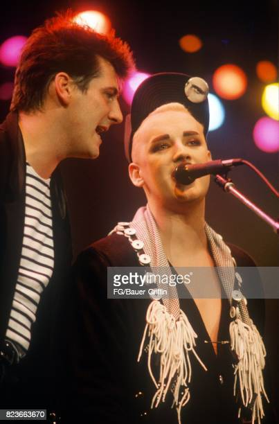 Tony Hadley and Boy George at the Prince's Trust Concert on June 05 1987 in London United Kingdom 170612F1