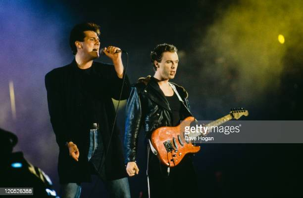 Tony Hadley and Gary Kemp performing with British pop group Spandau Ballet circa 1985