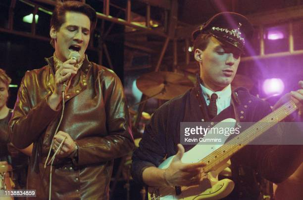 Tony Hadley and Martin Kemp performing with Spandau Ballet on the BBC TV music programme 'The Oxford Road Show' Manchester 8th January 1982