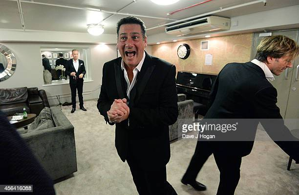 Tony Hadley and Steve Norman backstage after the World Premiere of Soul Boys Of The Western World at Royal Albert Hall on September 30 2014 in London...