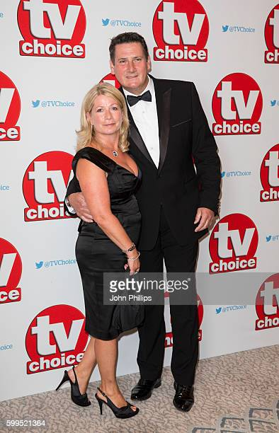 Tony Hadley and wife Alison Evers arrive for the TVchoice Awards at Dorchester Hotel on September 5 2016 in London England