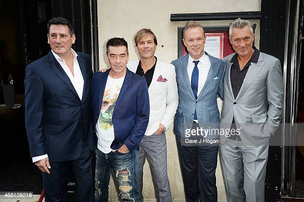 Tony Hadley John Keeble Steve Norman Gary Kemp and Martin Kemp of Spandau Ballet attend a photocall as Spandau Ballet are awarded a PRS for Music...