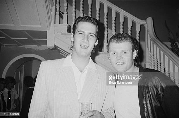 Tony Hadley of Spandau Ballet and Rusty Egan at a party at Stocks House Hertfordshire 1984