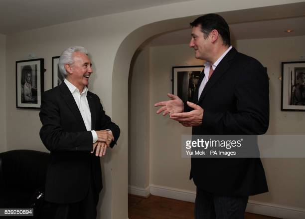 Tony Hadley of Spandau Ballet meets Tony Christie after Christie's performance in Dreamboats and Petticoats at the Playhouse Theatre in central London